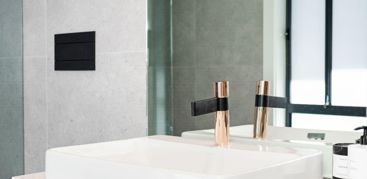 rose gold tap bathroom