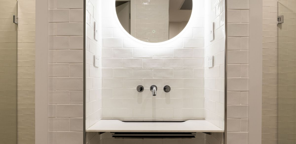 led round mirror bathroom