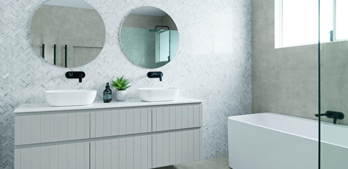 square counter basin bathroom