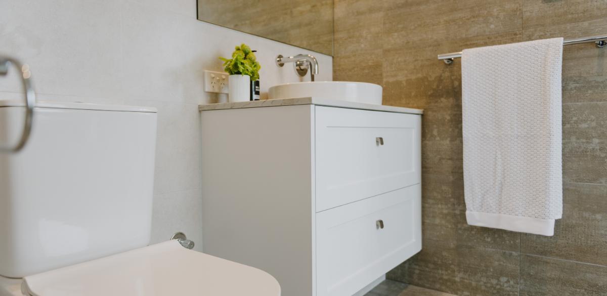 white wall hung vanity