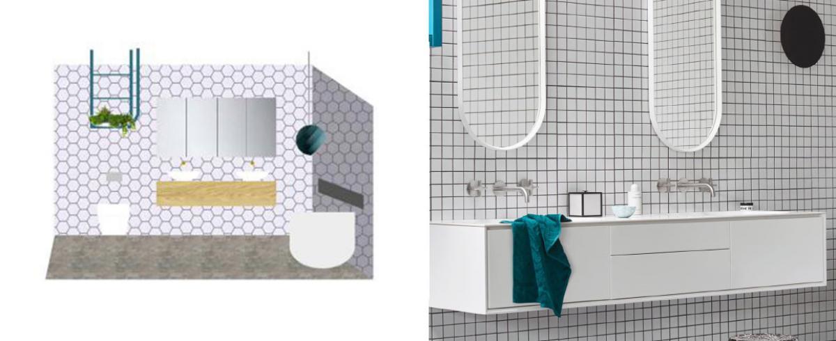 julia and sasha luxe nordic minimal bathroom floorplan