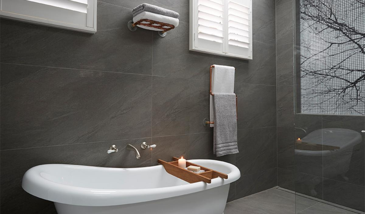 Reece theblock main bathroom freestanding bath