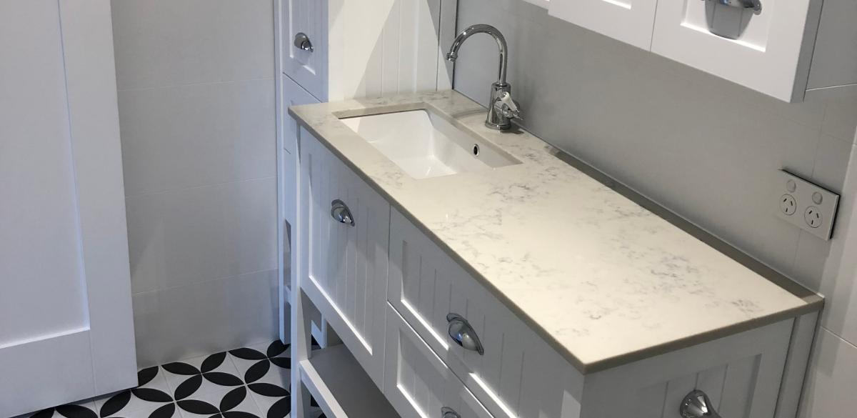white bathroom vanity unit