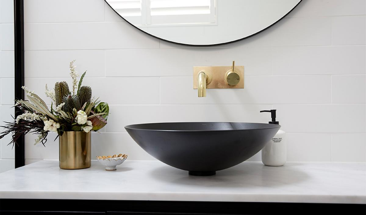 Reece theblock bathroom alape black basin