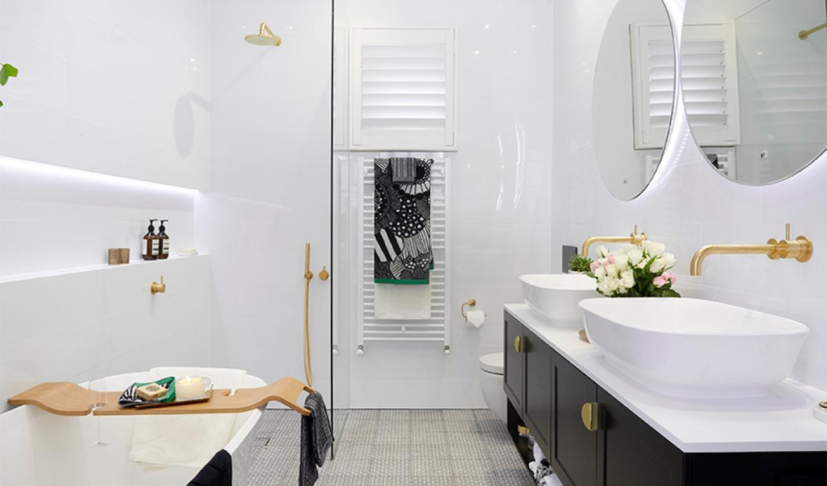 Reece theblock bathrooms round mirror