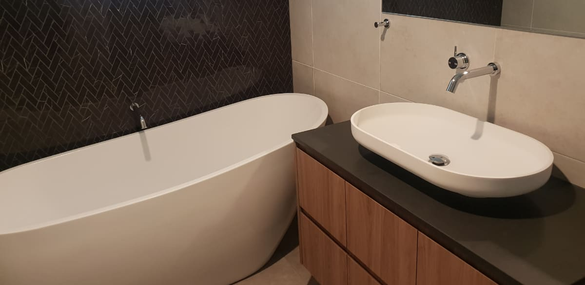 bathroom reno freestanding bathtub
