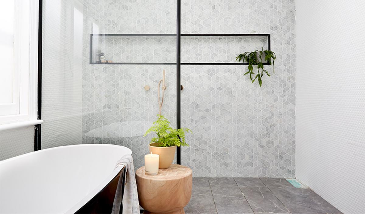 Reece theblock bathroom black and white bath