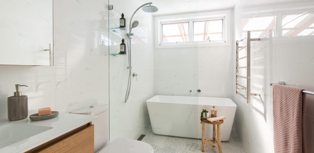 freestanding bathtub shower over bath