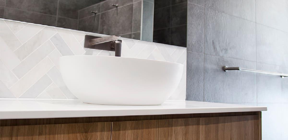 above counter basin matte white