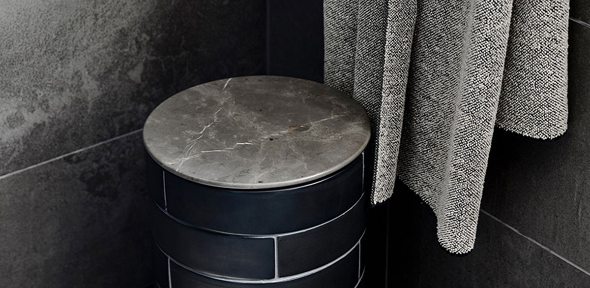 Reece bathroom furniture inspiration black tiles
