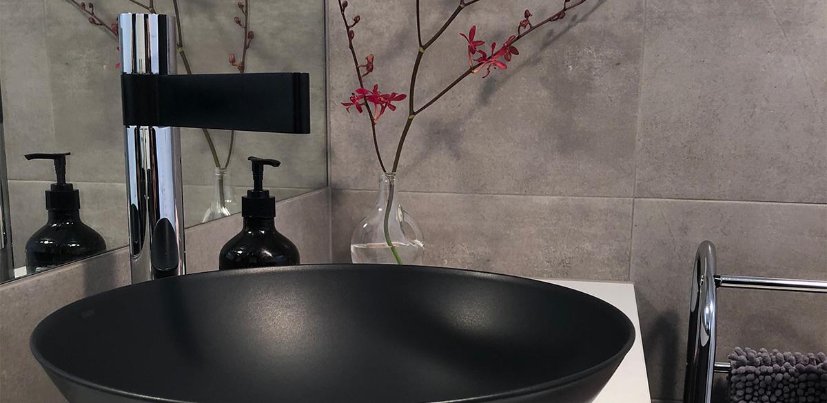 Reece bathroom chrome black tap