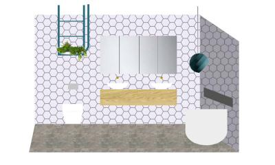 julia and sasha luxe nordic minimal bathroom floorplan
