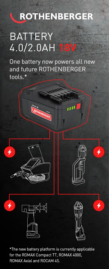 Rothenberger batter 4.0/2.0AH 18V One battery now powers all new and future Rothenberger tools* *The new battery platform is currently applicable for the ROMAX Compact TT, ROMAX 4000, ROMAX Axial and ROCAM 4S