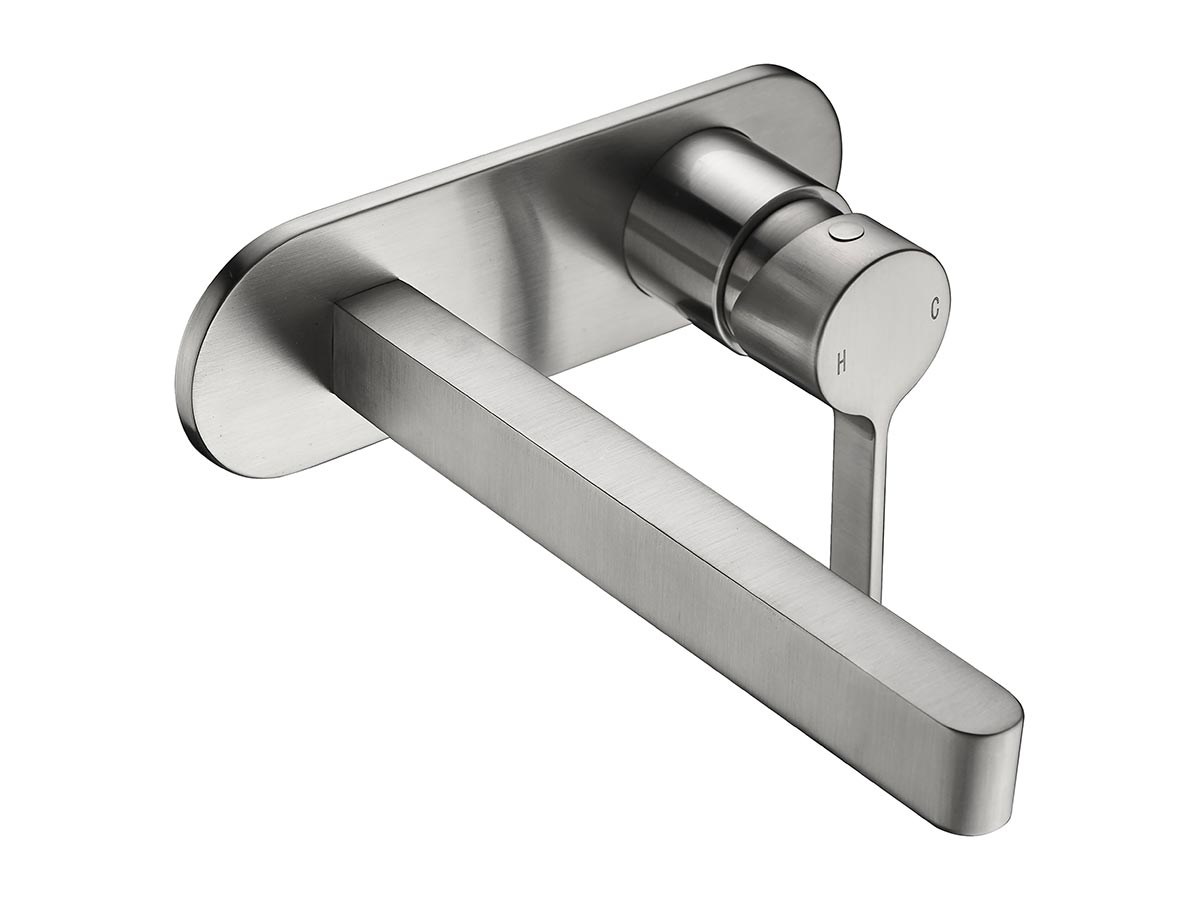 mizu wall bath mixer set brushed nickel