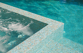 Tiled swimming pool and spa water